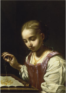 Girl Sewing, Antonio Amorosi