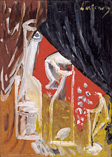 Still Life with Carafe and Curtains, Mikhail Larionov