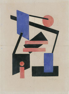 Composition II, Pink and Blue, Sándor Bortnyik