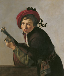 Young Man Playing a Theorbo, Jan Gerrit van Bronchorst