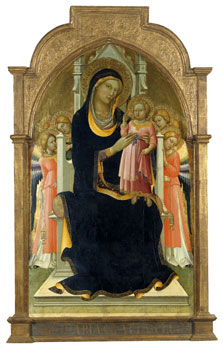 The Virgin and Child enthroned with six Angels, Lorenzo Monaco