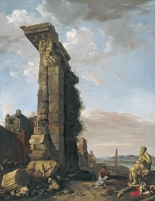 Capriccio with Roman Ruins, Sculptures and a Port, Bartholomeus Breenbergh