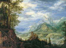 Mountain Landscape with a Castle, Roelandt Savery