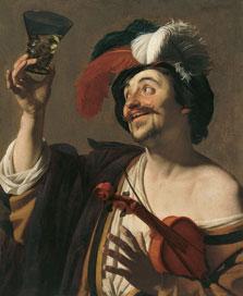 El violinista alegre con un vaso de vino, Gerrit van Honthorst