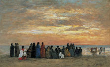 Figures on the Beach in Trouville, Eugène Boudin