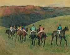 Caballos de carreras en un paisaje, Edgar Degas