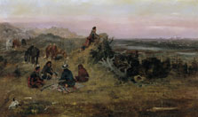 The Piegans preparing to Steal Horses from the Crows, Charles Marion Russell