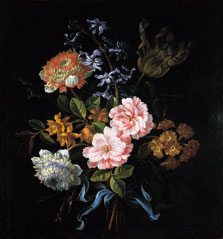 A Bouquet of Poppy Anemones, York-and-Lancaster Roses, Double Camparnelle, a Hyacinth, a Tulip and Auricula Tied with a Blue Ribbon, Jean-Baptiste Monnoyer