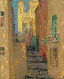 La calle de la iglesia, Villefranche-sur-Mer, Henri Le Sidaner