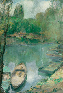 Boats moored on a Pond, John Henry Twachtman