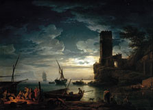 Night: Mediterranean Coast Scene with Fishermen and Boats, Claude-Joseph Vernet