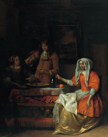 Interior with Two Women and a Man Drinking and Eating Oysters, Pieter Hendricksz. de Hooch