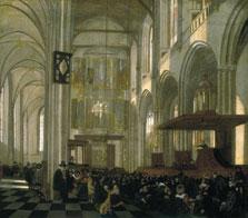 Interior de la Nieuwe Kerk, Amsterdam, durante el oficio, Emanuel de Witte