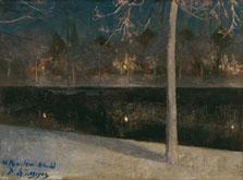 Paisaje nocturno nevado. Haarlem, Darío de Regoyos y Valdés