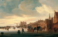 A Winter Landscape with Skaters and Sleighs before a Town, Salomon Jacobsz. van Ruysdael