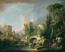 River Landscape with Ruin and Bridge, François Boucher