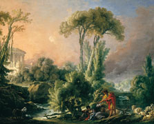 River Landscape with an Antique Temple, François Boucher