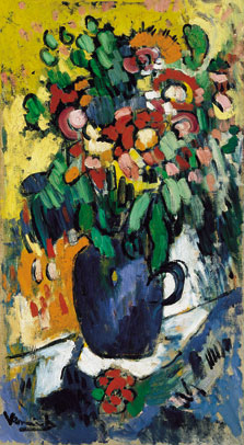 Blue vase with flowers, Maurice De Vlaminck