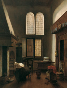 Interior with a Woman Seated by a Hearth, Jacobus Vrel