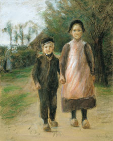 Boy and Girl on a Village Street, Max Liebermann
