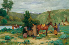 Setting up Camp, Little Big Horn, Montana, Joseph Henry Sharp