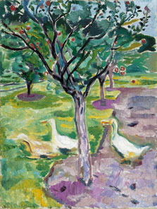 Geese in an Orchard, Edvard Munch