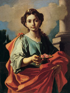 Saint Holding a Platter with Roses, Attributed To Giacomo Cestaro