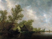 River Landscape with Ferry Boat and Cottages, Jan Josephsz. van Goyen