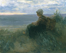 A Fishergirl on a Dune Top Overlooking the Sea, Jozef Israëls