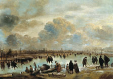 Winter Landscape with Skaters on a Frozen Waterway, Aert van der Neer