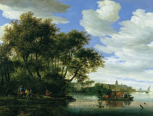 A View of the River Vecht with a Ferry, Fishermen, and Nijenrode Castle in the Distance, Salomon Jacobsz. van Ruysdael