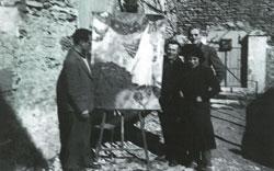 Varian Fry, Marc Chagall, Hiram Bingham IV, and Bella Chagall. Gordes, 1941. (Ida Chagall Archives)