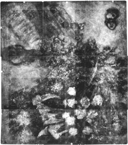 X-ray of The Madonna of the Village, turned on its left side