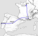 Map of France, Spain and Portugal, showing the route taken by the Chagall family before arriving in New York