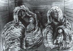Escena de refugio: Figuras cubiertas con niños