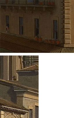 Fig. 10. Detail of the first floor of the building in the immediate foreground on the right. Fig. 11. Detail of a flower pot among the dividing walls of Sant' Agnese